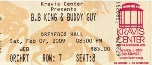 2009 BB King & Buddy Guy Ticket