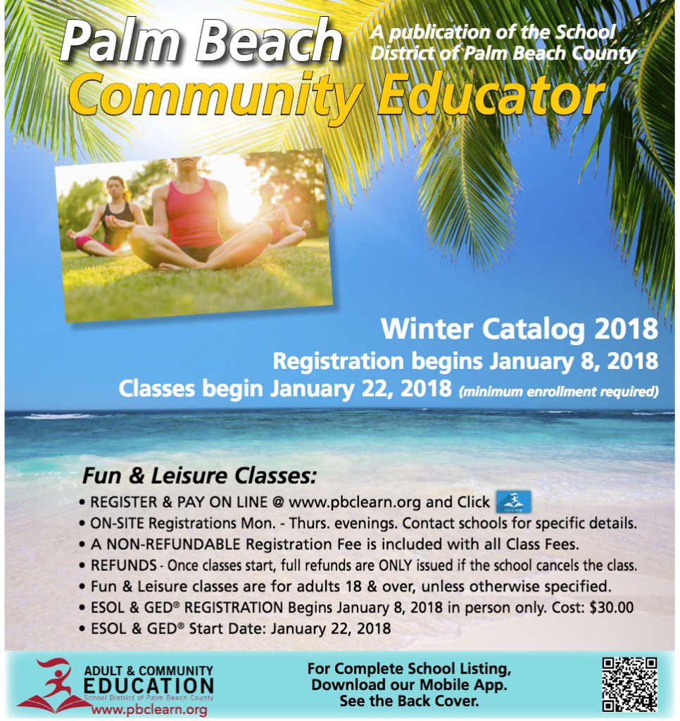 Palm Beach County Community Education brochure